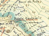 Carte port des Sapins et plage de la Table à la Pointe Gauthier